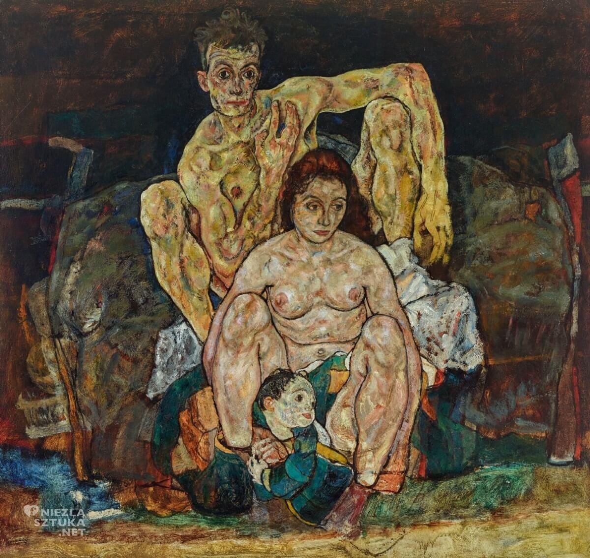 Egon Schiele, Kucająca para, rodzina, sztuka austriacka, Niezła Sztuka