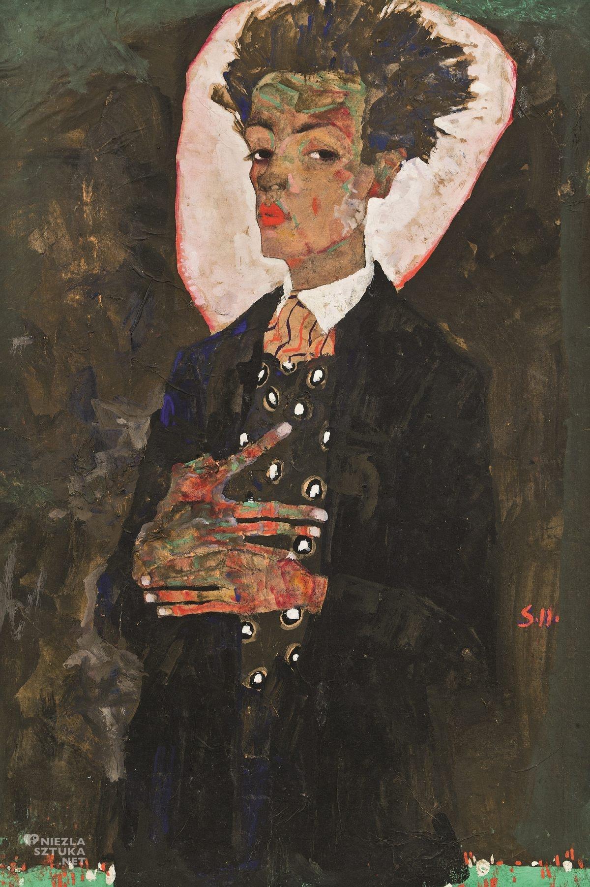 Egon Schiele, Autoportret w kamizelce, sztuka austriacka, Niezła Sztuka