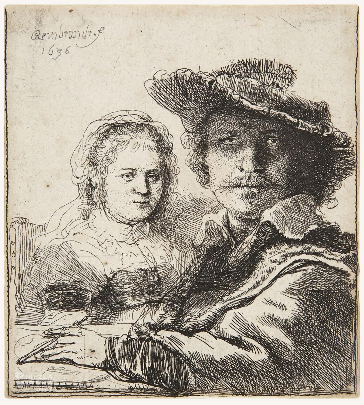 Rembrandt, Autoportret z Saskią, żona artysty, sztuka niderlandzka, szkic, Niezła Sztuka