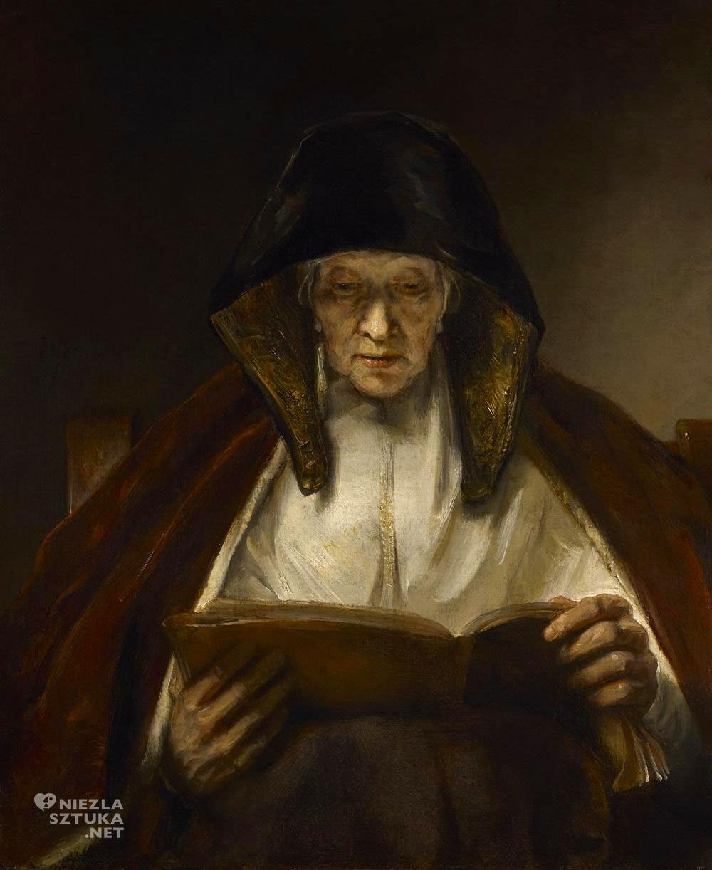 Rembrandt, Rembrandt van Rijn, Stara kobieta czytająca, sztuka niderlandzka, malarstwo niderlandzkie, Niezła Sztuka
