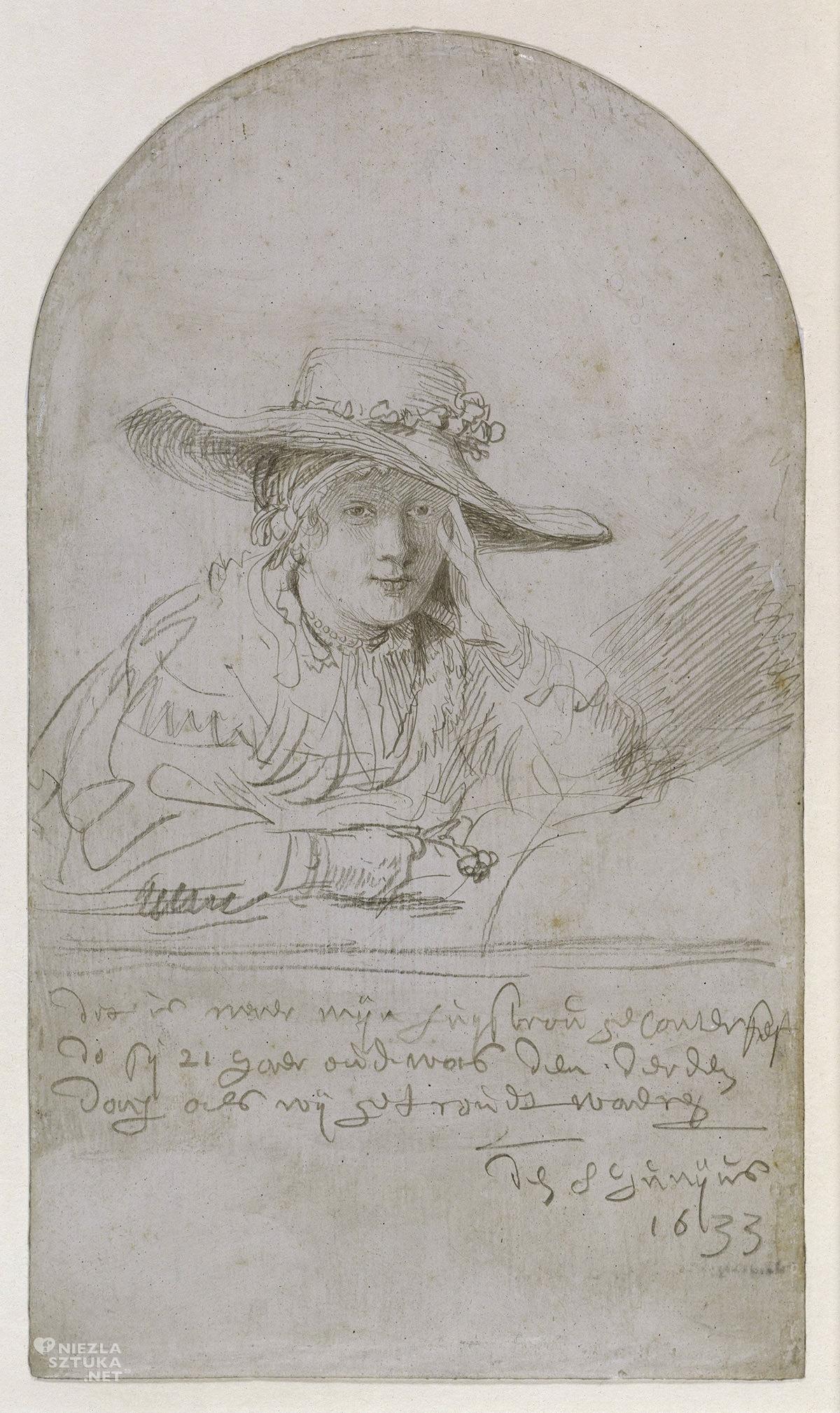 Rembrandt, Saskia, portret Saskii, szkic, żona artysty, sztuka niderlandzka, Niezła Sztuka