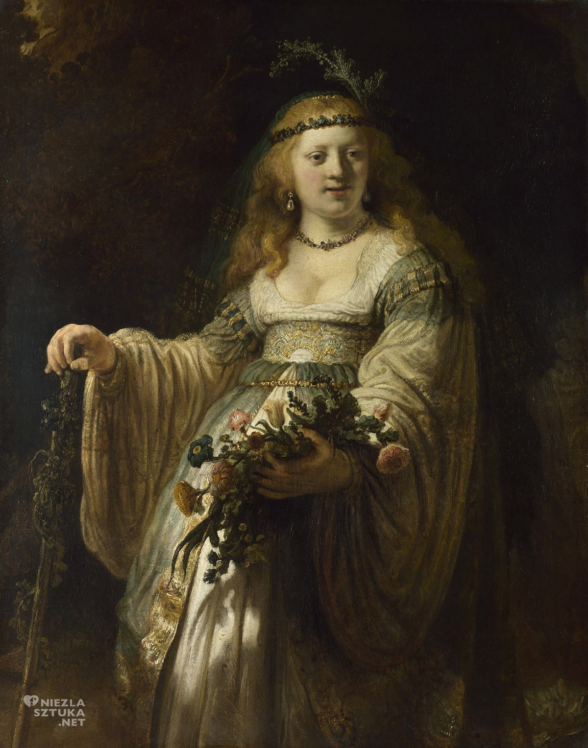 Rembrandt, Rembrandt van Rijn, Saskia van Uylenburgh w stroju arkadyjskim, sztuka niderlandzka, malarstwo niderlandzkie, portret, żona malarza, Niezła Sztuka