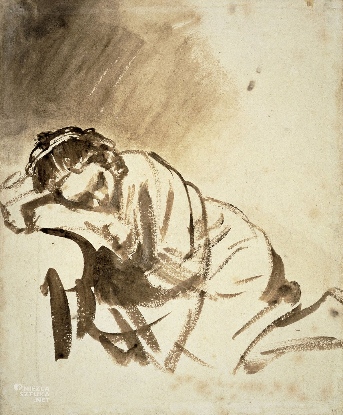 Rembrandt, Rembrandt van Rijn, Śpiąca dziewczyna, szkic, sztuka niderlandzka, Niezła Sztuka