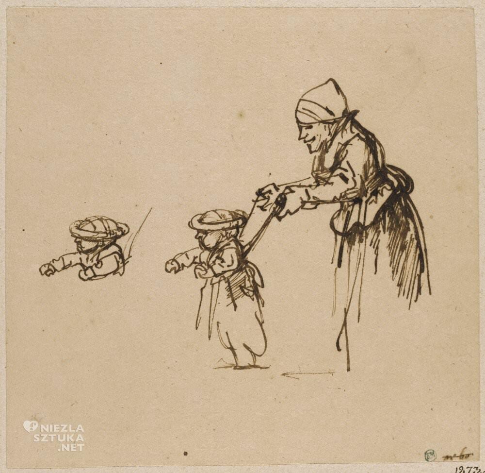 Rembrandt, Rembrandt van Rijn, Kobieta ucząca dziecko chodzić, szkic, sztuka niderlandzka, Niezła Sztuka