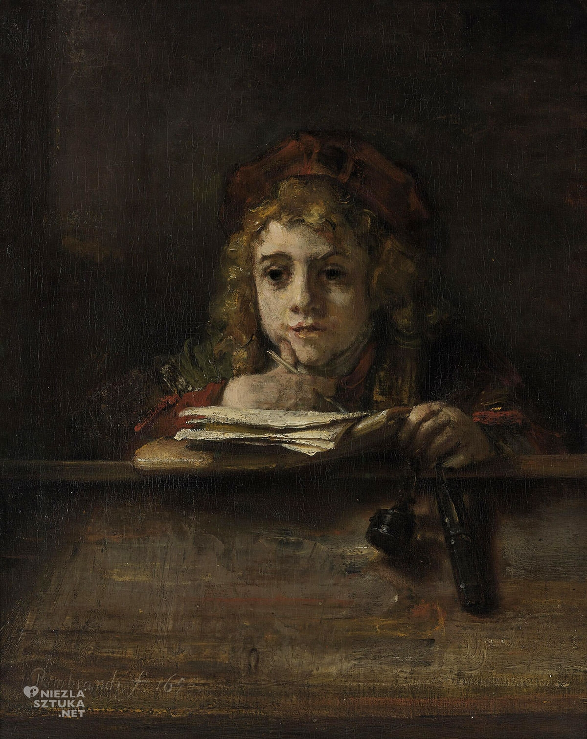 Rembrandt, Rembrandt van Rijn, Tytus przy biurku, syn malarza, sztuka niderlandzka, malarstwo niderlandzkie, Niezła Sztuka