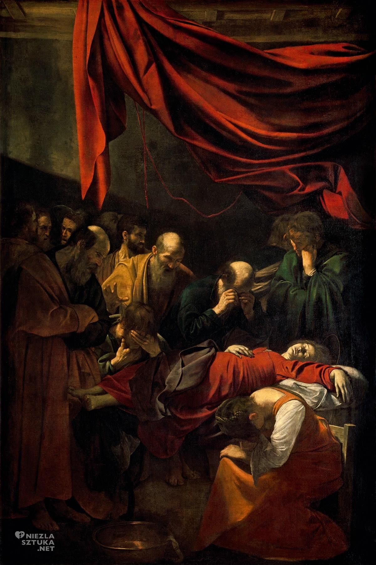 Caravaggio, Śmierć Marii, Zaśnięcie Maryi, sztuka religijna, barok, Niezła Sztuka