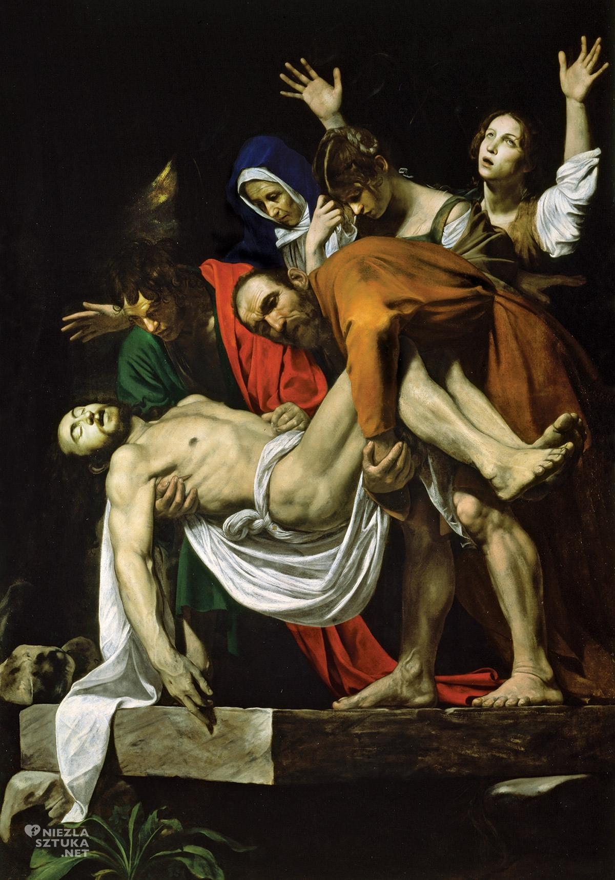 Caravaggio, Złożenie do grobu, sztuka religijna, barok, Muzea Watykańskie, Niezła Sztuka