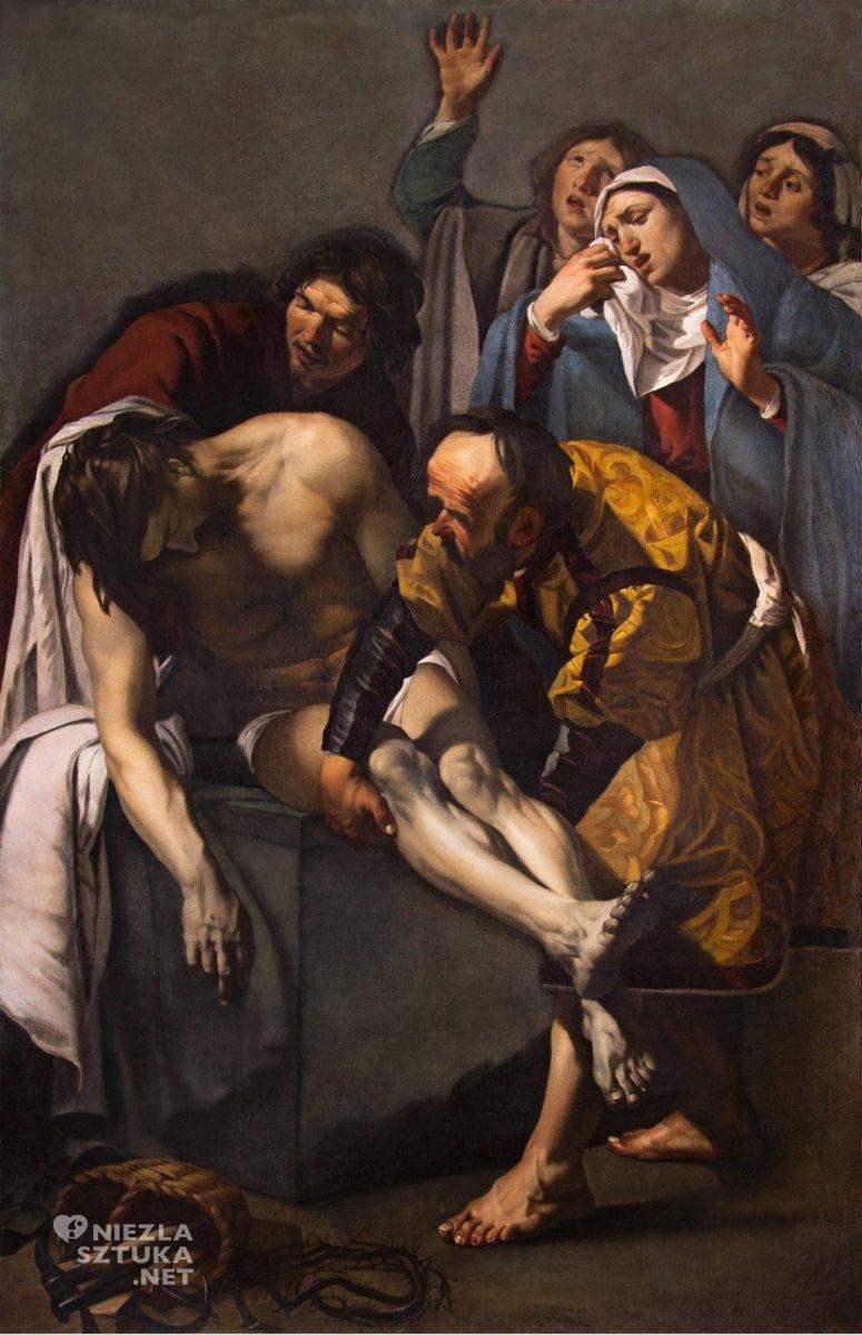 Dirck van Baburen, Złożenie do grobu, malarstwo religijne, sztuka niderlandzka, barok, szkoła utrechcka, caravaggionizm, Niezła Sztuka