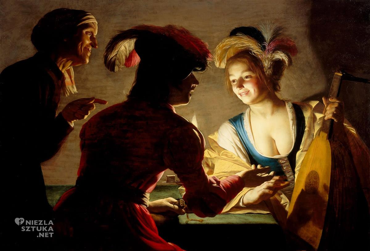 Gerrit van Honthorst, Stręczycielka, sztuka niderlandzka, caravaggionizm, Niezła Sztuka