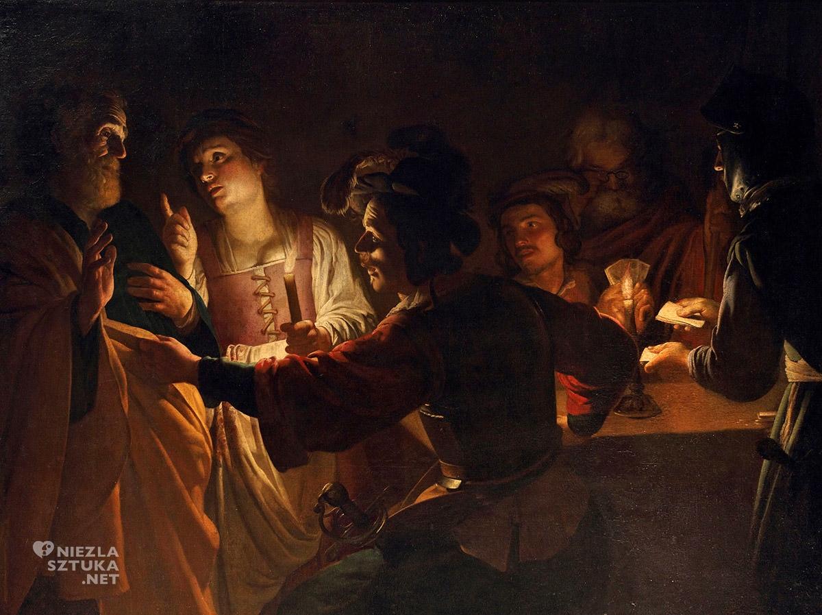 Gerrit van Honthorst, Wyparcie się świętego Piotra, malarstwo religijne, sztuka niderlandzka, caravaggionizm, Niezła Sztuka