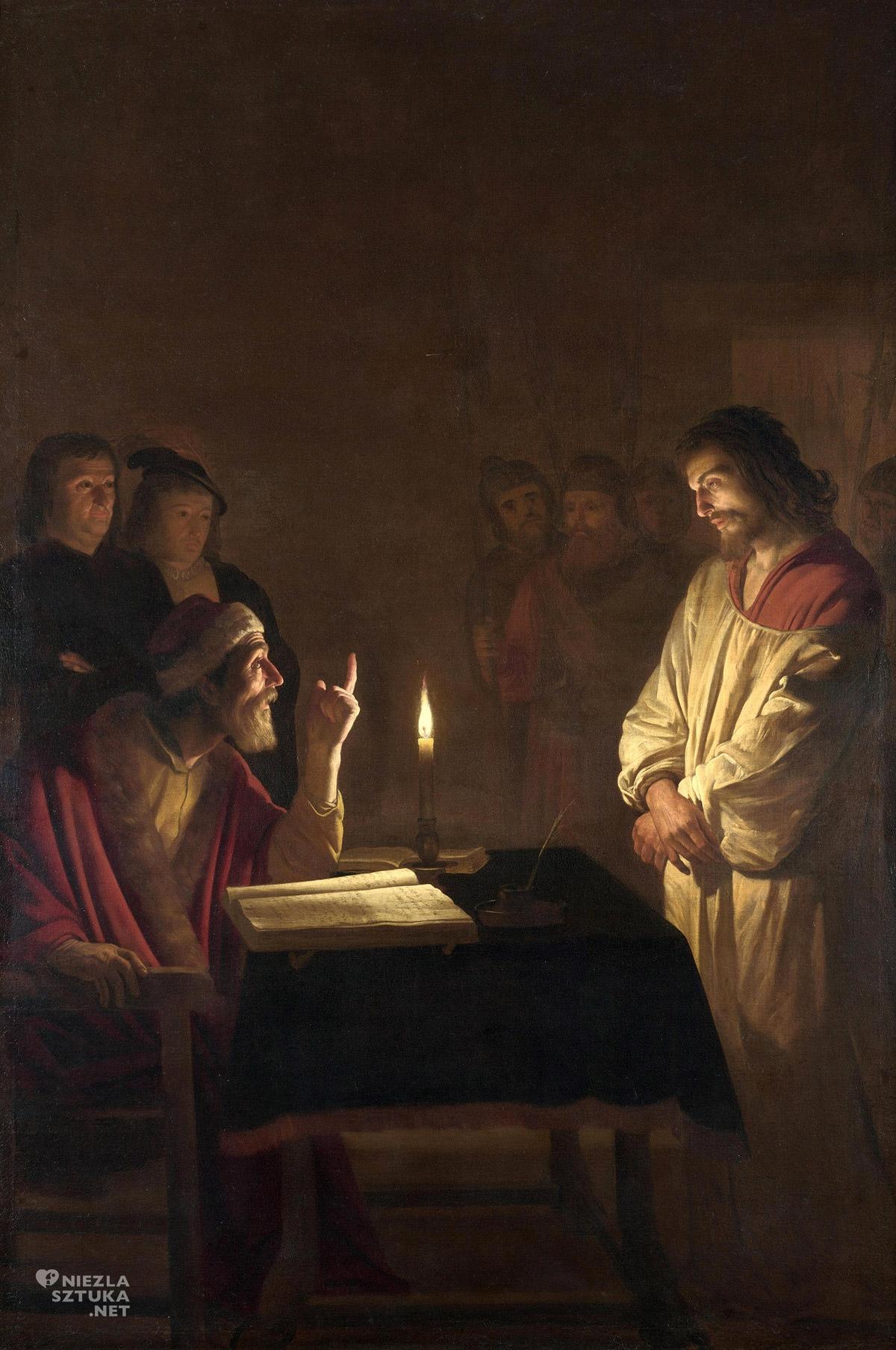 Gerrit van Honthorst, Chrystus przed Kajfaszem, malarstwo religijne, sztuka niderlandzka, barok, szkoła utrechcka, caravaggionizm, Niezła Sztuka