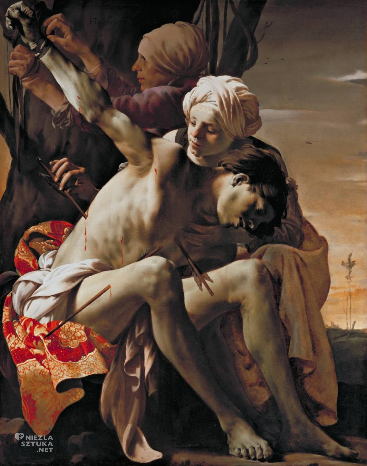 Hendrick ter Brugghen, święty Sebastian pielęgnowany przez świętą Irenę, sztuka religijna, sztuka niderlandzka, szkoła utrechcka, caravaggionizm, Niezła Sztuka