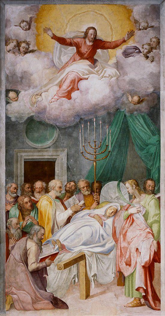 Taddeo Zuccari, Śmierć Marii, fresk, sztuka włoska, sztuka religijna, Niezła Sztuka