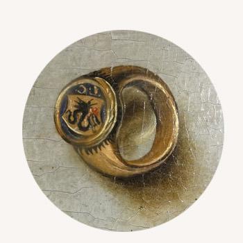 Lucas Cranach, Madonna pod jodłami, detal, znak herbowy, sztuka niemiecka, Niezła Sztuka