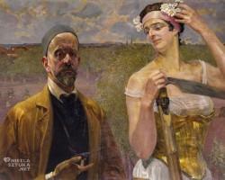 Jacek Malczewski, Autoportret z Thanatosem, sztuka polska, symbolizm w malarstwie, niezła sztuka