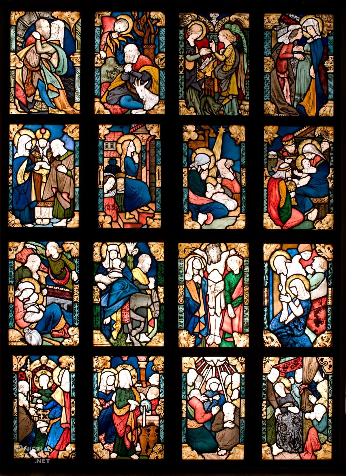 Józef Mehoffer, Stanisław Wyspiański, Sceny z życia Najświętszej Panny Marii, witraż, kościół mariacki, Kraków, Niezła Sztuka