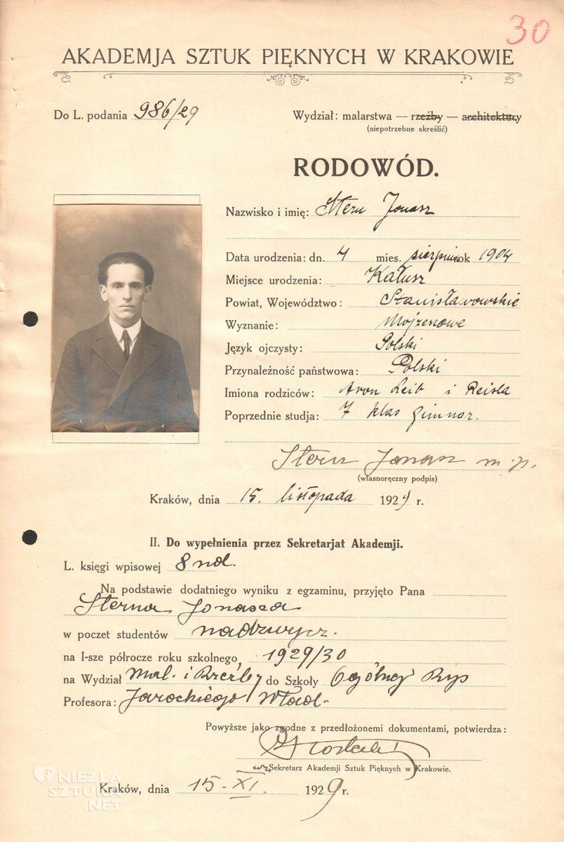 Jonasz Stern, ASP, Kraków, sztuka polska, Niezła Sztuka