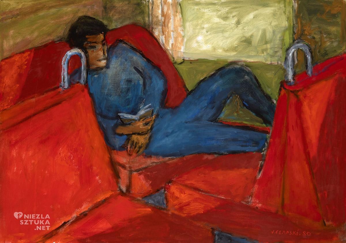Józef Czapski, Młody mężczyzna na czerwonym tle, 1980, Muzeum Narodowe w Krakowie, malarstwo polskie, malarstwo XX w., Niezła sztuka