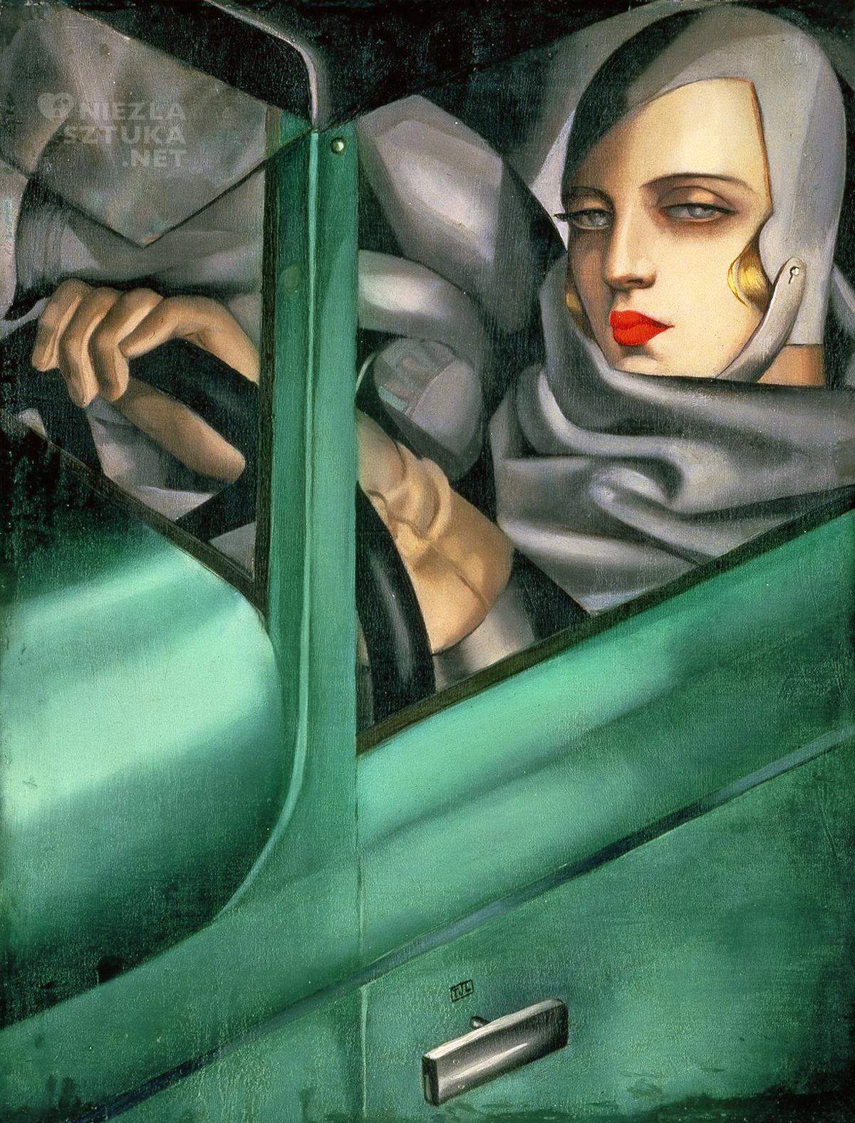 Tamara Łempicka, Autoportret w zielonym bugatti, kobiety w sztuce, art deco, Tamara de Lempicka,Niezła Sztuka