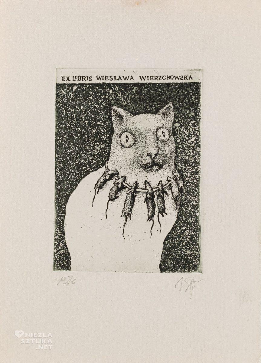 Stasys Eidrigevičius, Exlibris, Wiesława Wierzchowska, kot, grafika, sztuka współczesna, Niezła Sztuka