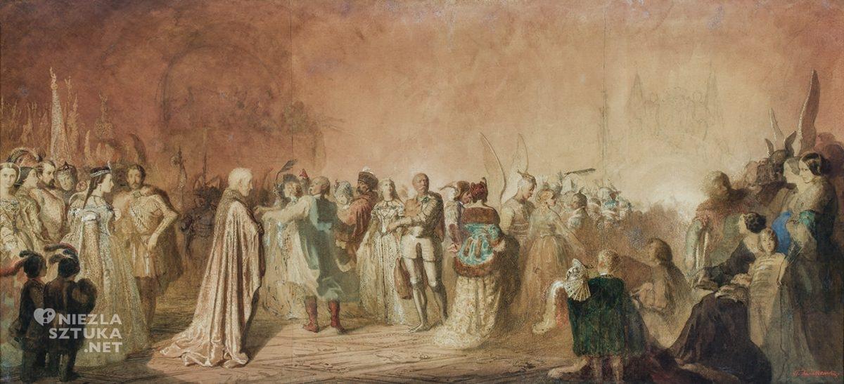 Teofil Kwiatkowski, Bal w Hôtel Lambert w Paryżu, Polonez Chopina, szkic, sztuka polska, malarstwo polskie, Niezła Sztuka
