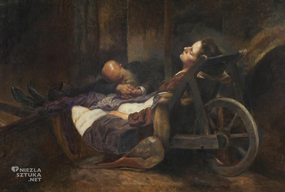 Artur Grottger, Ojciec i córka w syberyjskie kopalni, romantyzm, sztuka polska, XIX wiek, Niezła Sztuka