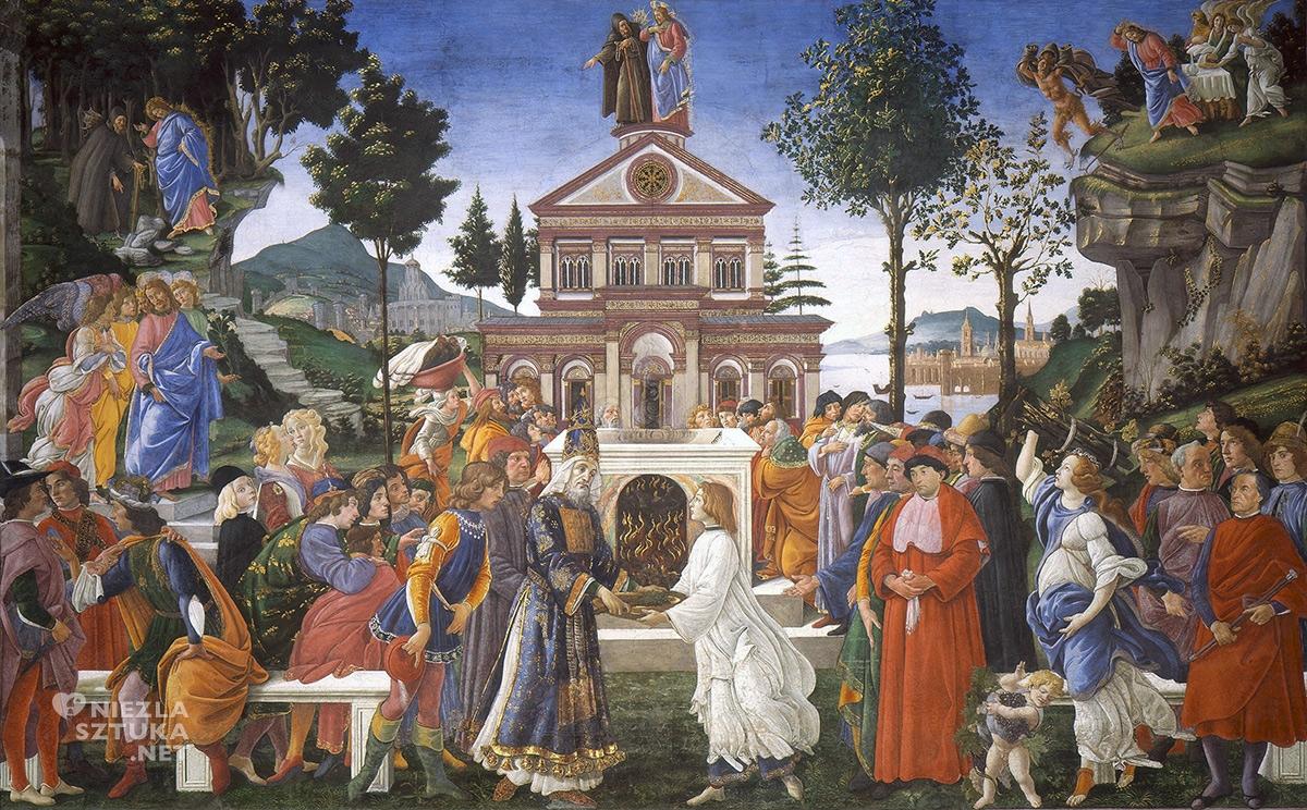 Sandro Botticelli, Kuszenie Chrystusa, Kaplica Sykstyńska freski, niezła sztuka