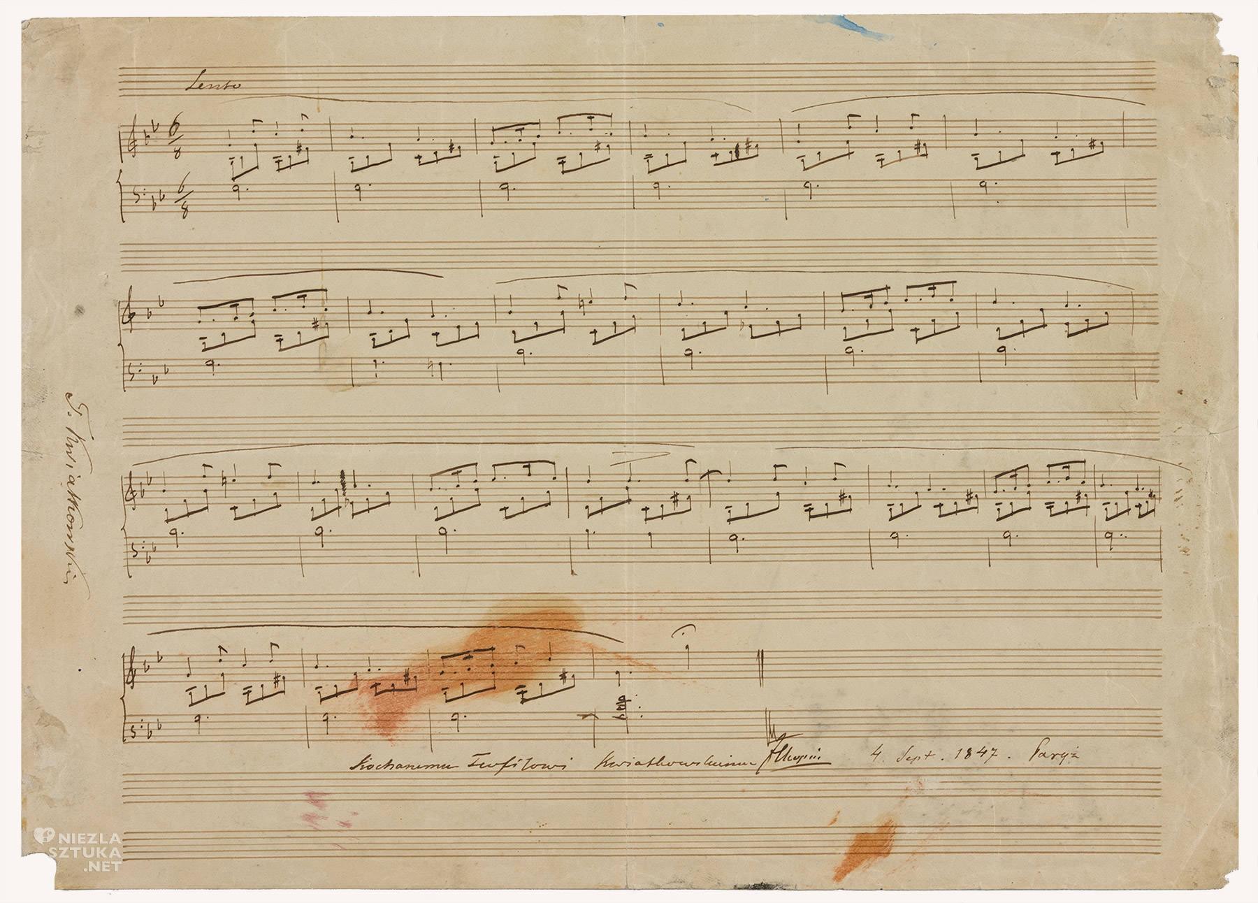 Teofil Kwiatkowski, Fryderyk Chopin, nuty, dedykacja, Muzeum Chopina, Warszawa, niezła sztuka