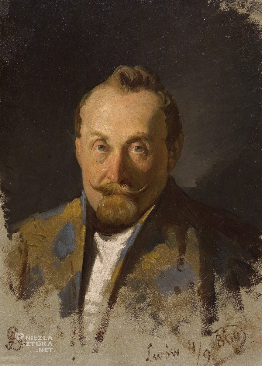 Artur Grottger, Portret mężczyzny, sztuka polska, XIX wiek, malarstwo polskie, Niezła Sztuka