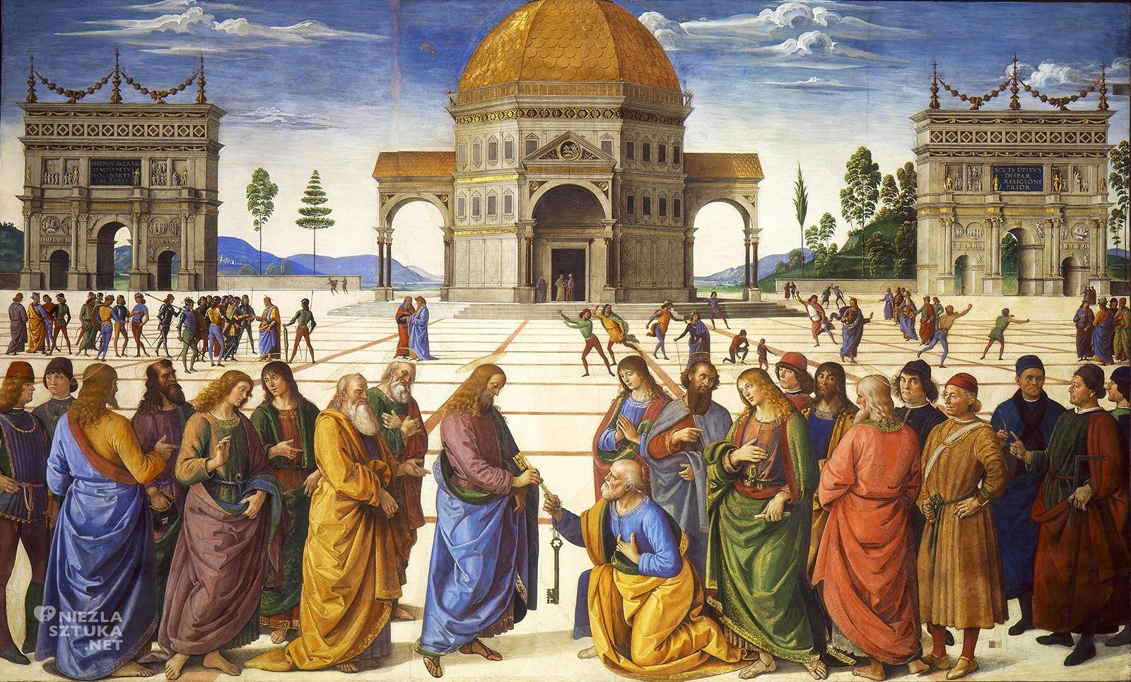 Pietro Perugino, Wręczenie kluczy Św. Piotrowi, Kaplica Sykstyńska freski, niezła sztuka