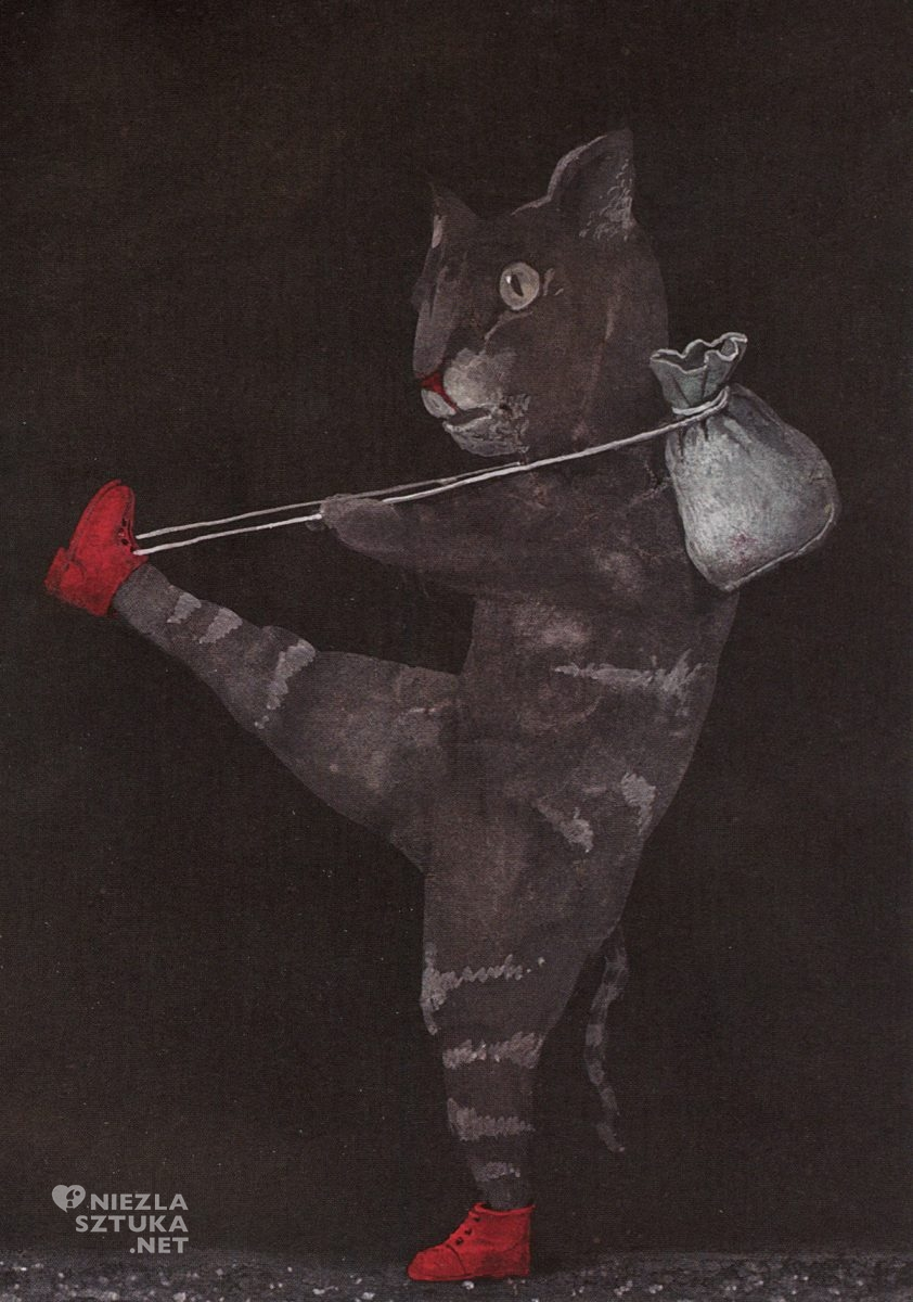 Stasys Eidrigevičius, ilustracja, książki dla dzieci, Kot w butach, Charles Perrault, Niezła Sztuka