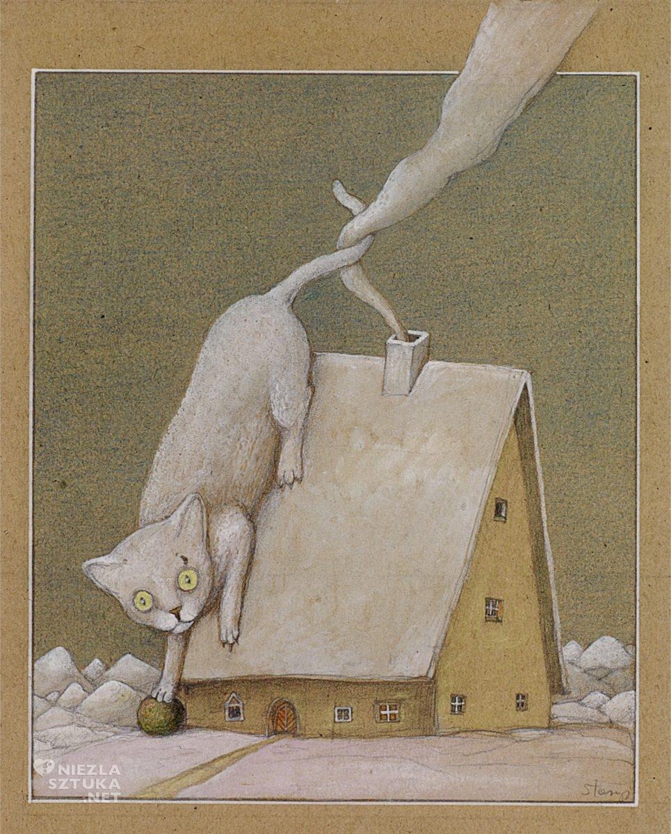 Stasys Eidrigevičius, ilustracja do ksiażki, Le chat Muche, Yves Velan, Niezła Sztuka