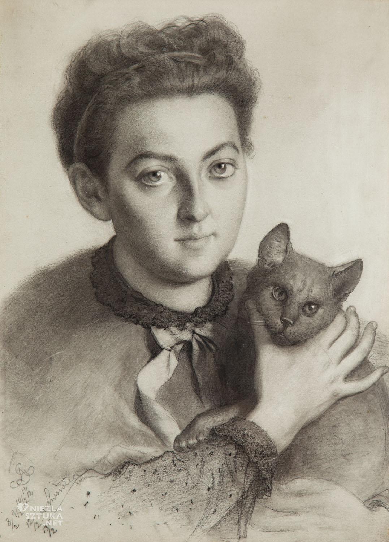 Artur Grottger, Portret narzeczonej artysty, Wanda Monné, sztuka polska, koty w sztuce, Niezła Sztuka