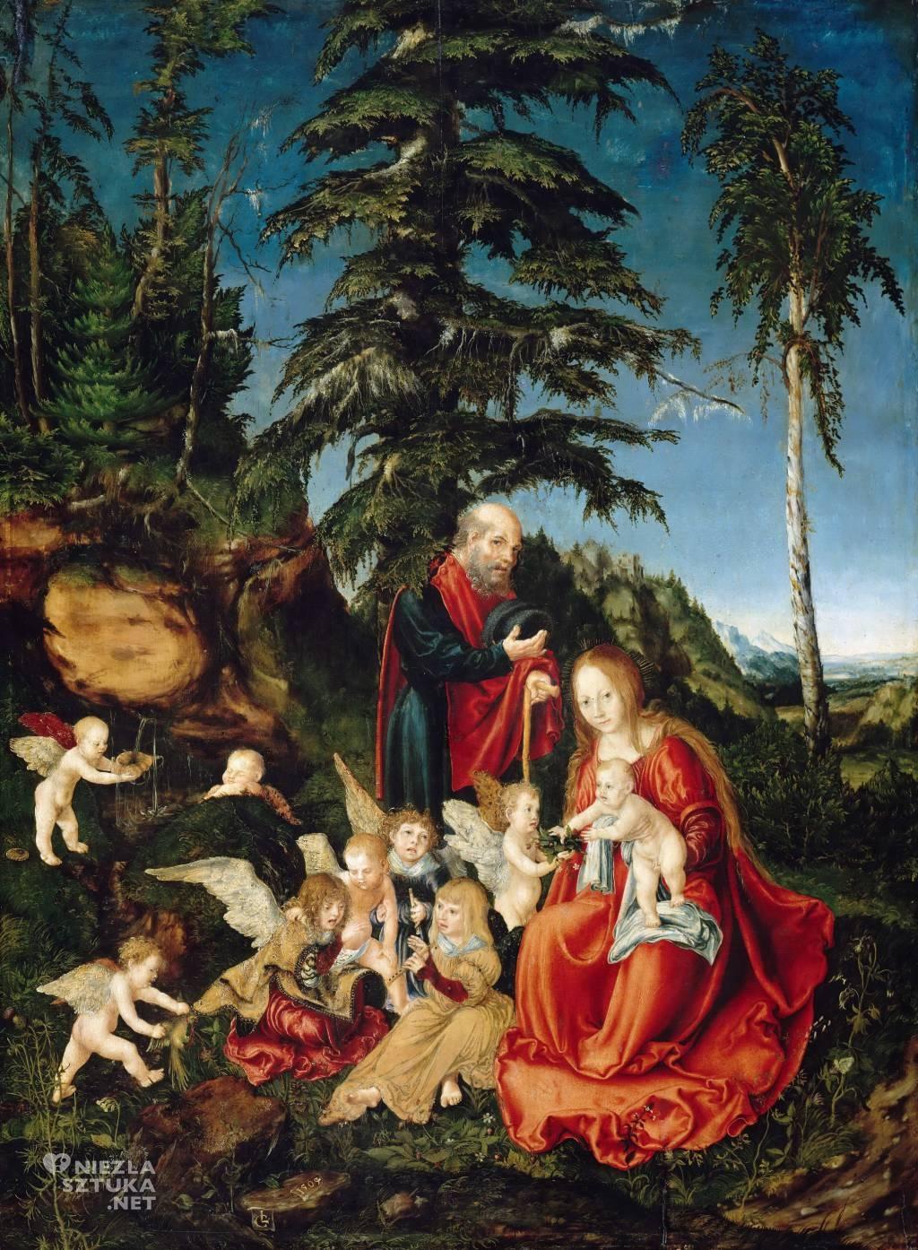Lucas Cranach, Odpoczynek w drodze do Egiptu, sztuka religijna, sztuka niemiecka, Niezła Sztuka