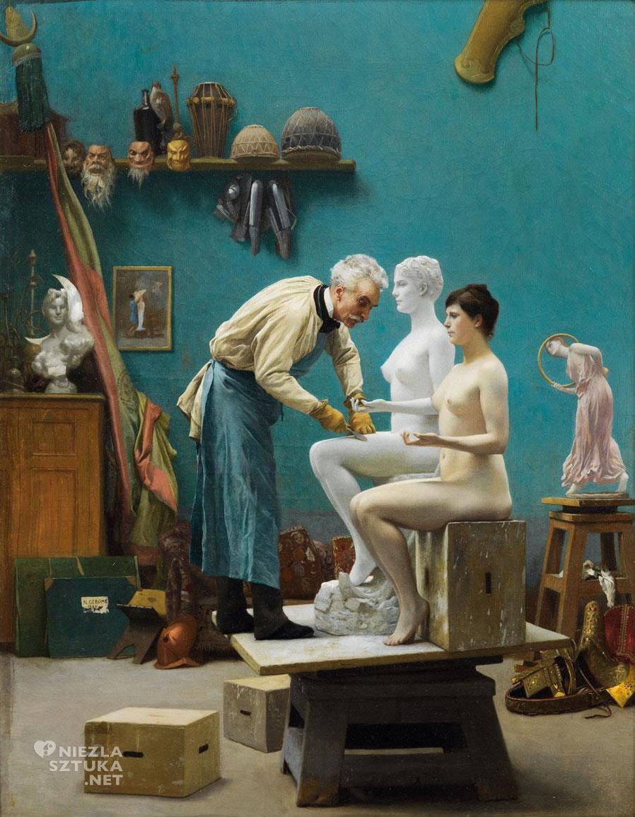 Jean-Léon Gérôme, Praca w marmurze, autoportret, Tanagra, akademizm, sztuka francuska, Niezła Sztuka