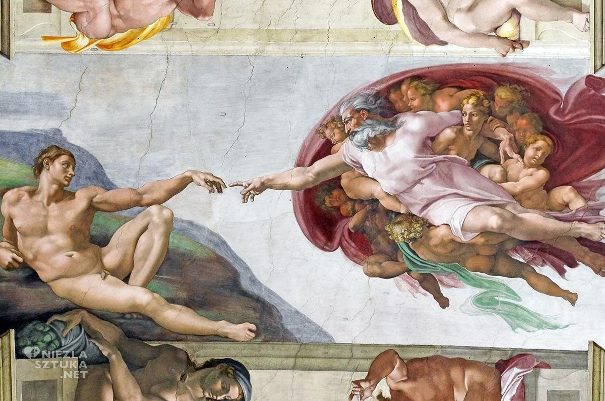 Michał Anioł, Stworzenie Adama, Kaplica Sykstyńska, renesans, Włochy, Watykan, Niezła Sztuka