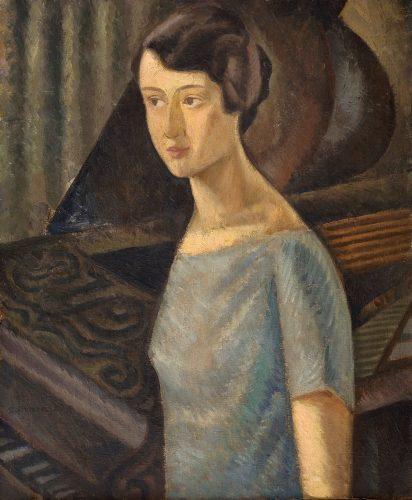 Zbigniew Pronaszko, Portret żony przy fortepianie, malarstwo polskie, malarstwo XX w., portret, awangarda, Niezła Sztuka