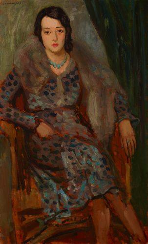 Zbigniew Pronaszko, Portret żony w lisie, malarstwo polskie, malarstwo XX w., portret, awangarda, Niezła Sztuka