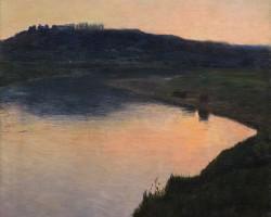 Aleksander Gierymski, Jezioro po zachodzie słońca, pejzaż, malarstwo polskie, sztuka polska, niezła sztuka