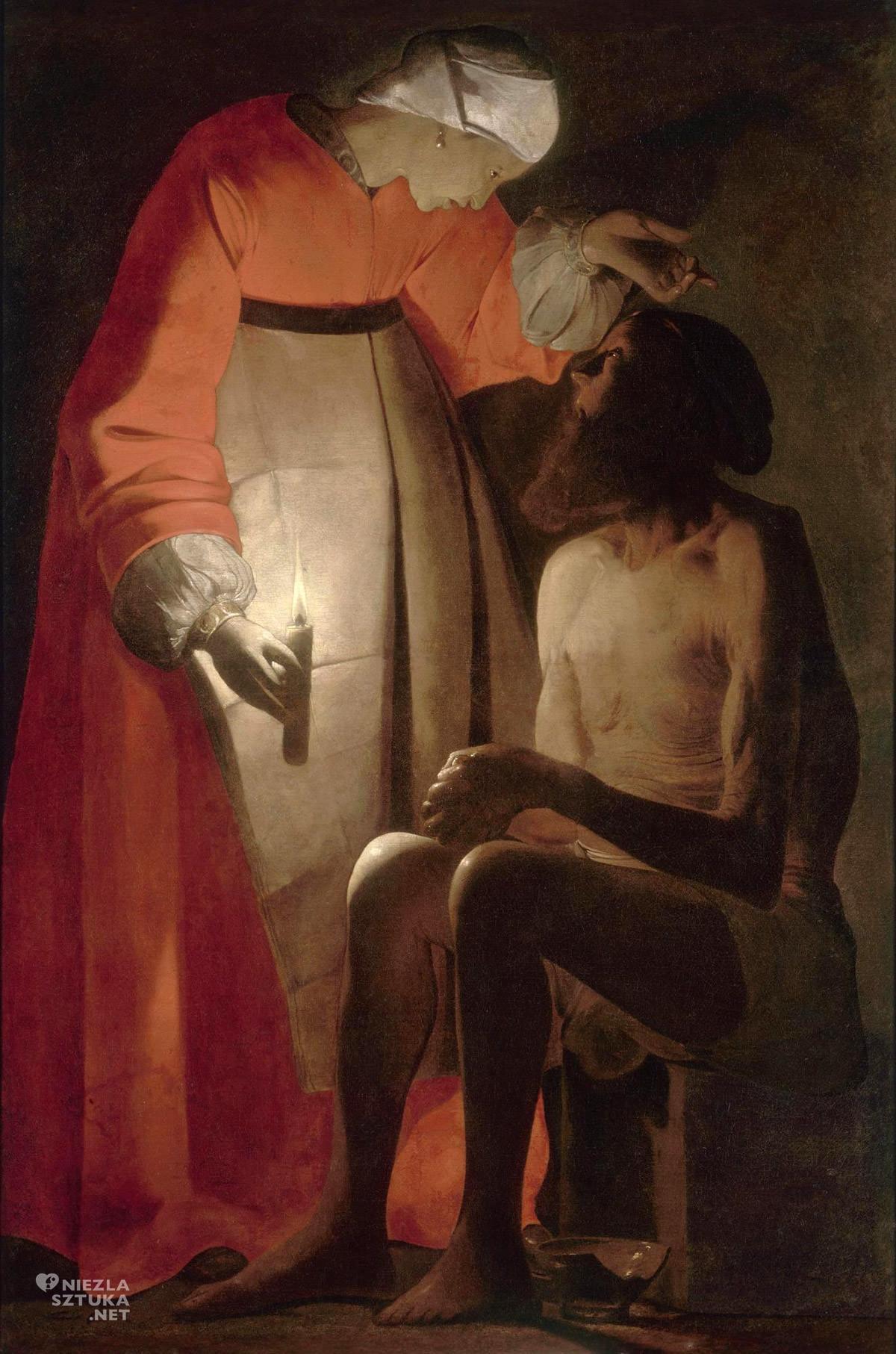 Georges de La Tour, Hiob z żoną, malarstwo religijne, sztuka francuska, barok, Niezła Sztuka