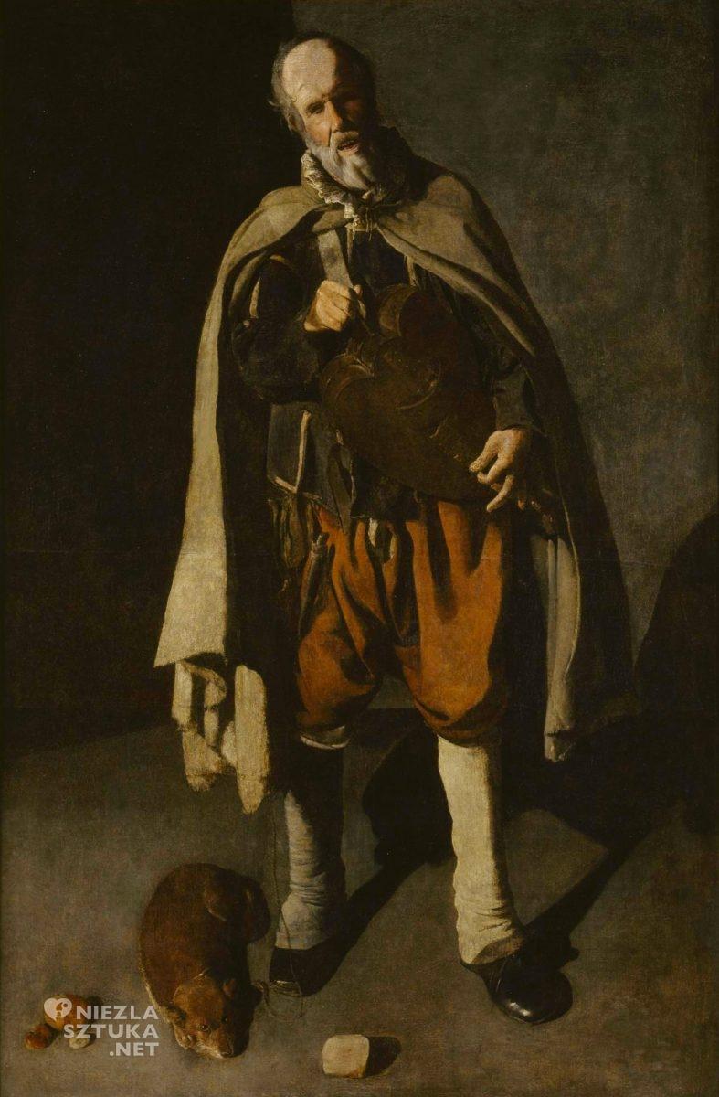 Georges de La Tour, Mężczyzna grający na lirze z psem, sztuka francuska, barok, Niezła Sztuka