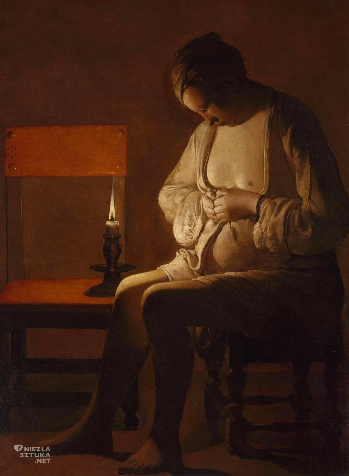 Georges de La Tour, Kobieta z pchłą. barok, sztuka francuska, Niezła Sztuka