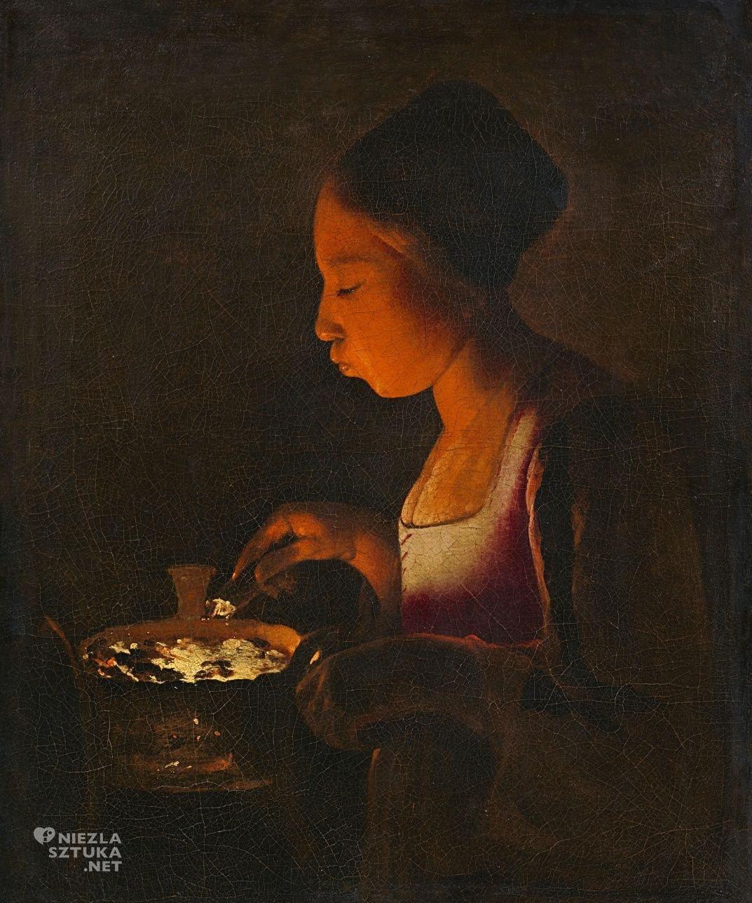 Georges de La Tour, Dziewczyna dmuchająca w żar, barok, sztuka francuska, Niezła Sztuka