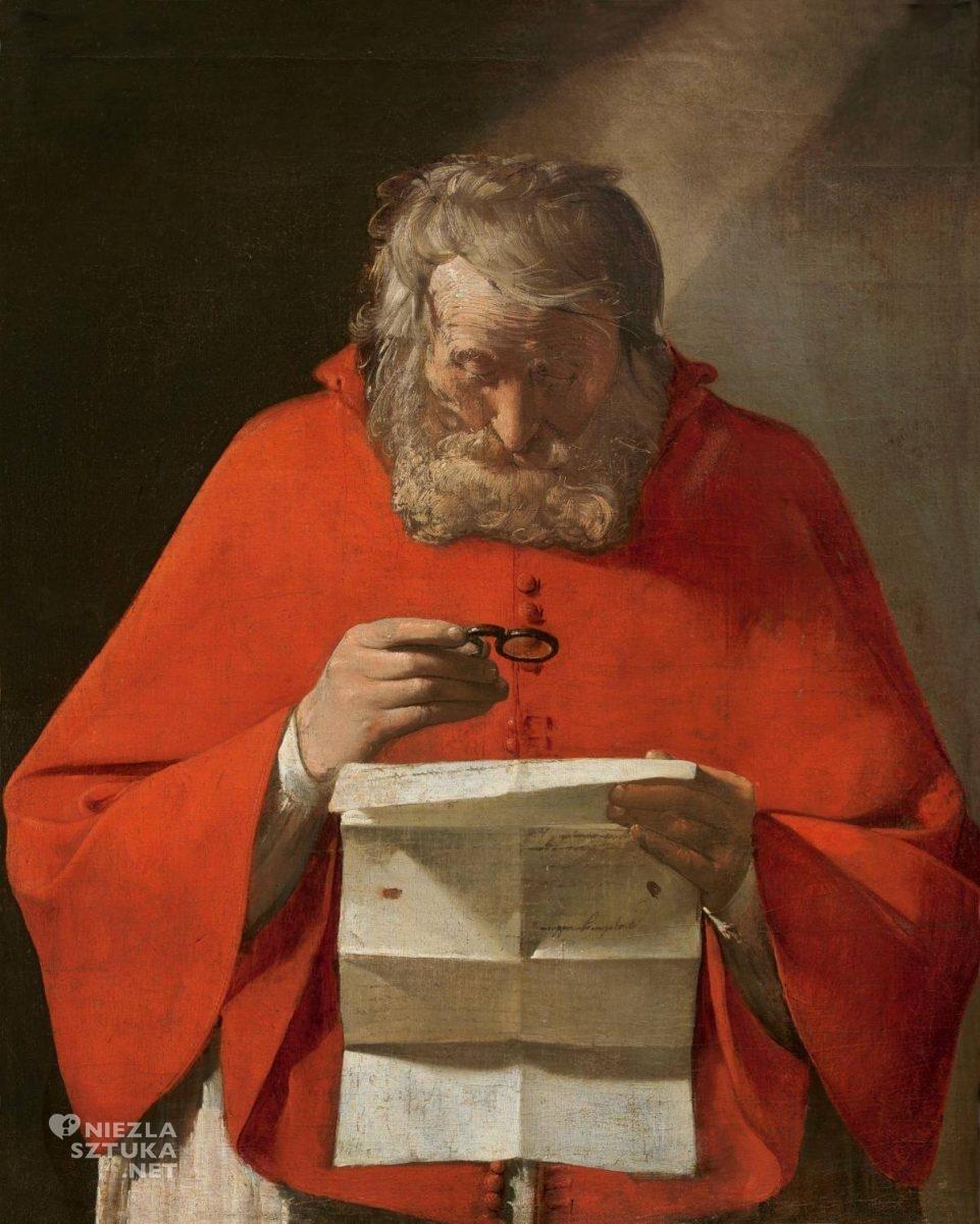 Georges de La Tour, Święty Hieronim czytający listy, sztuka francuska, sztuka religijna, barok, Niezła Sztuka