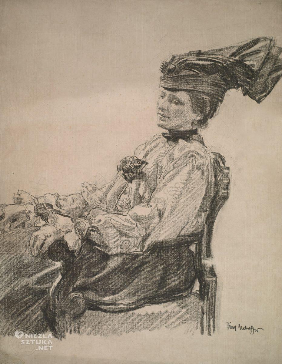 Józef Mehoffer, Portret żony artysty, sztuka polska, Jadwiga Mehoffer, Niezła Sztuka