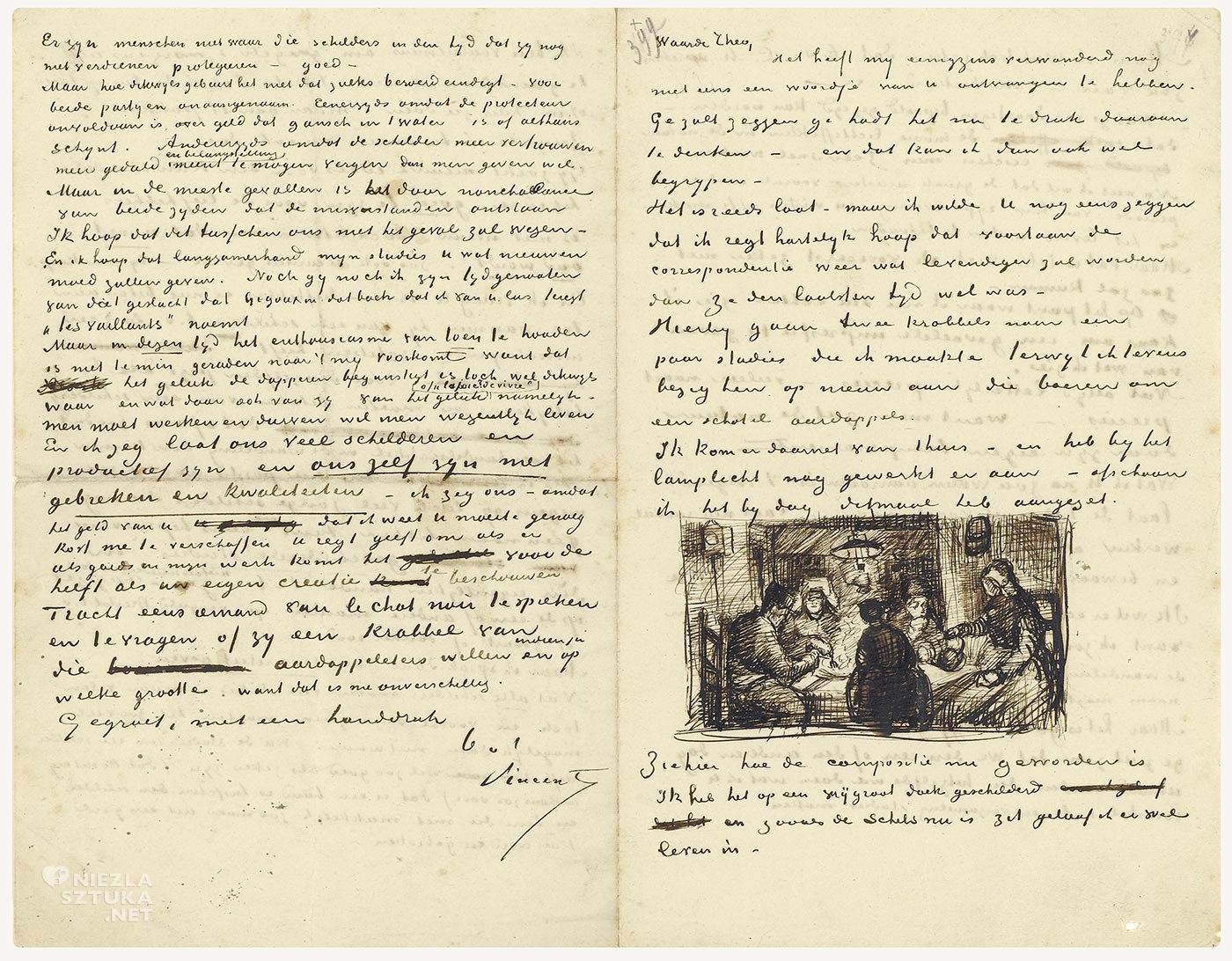 Vincent van Gogh, jedzący kartofle, listy van Gogha, niezła sztuka