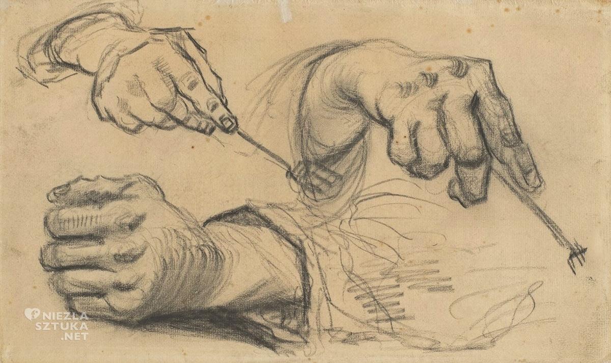 Vincent van Gogh, Trzy dłonie, szkic, Jedzący kartofle, Niezła Sztuka