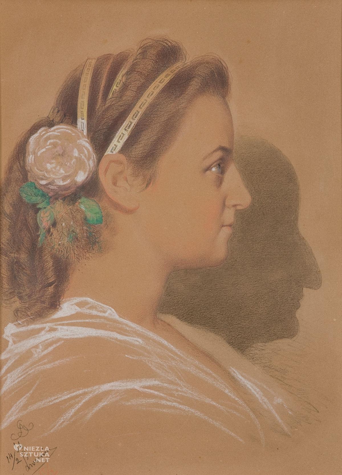 Artur Grottger , Portret narzeczonej z cieniem artysty, Wanda Monné, Niezła sztuka