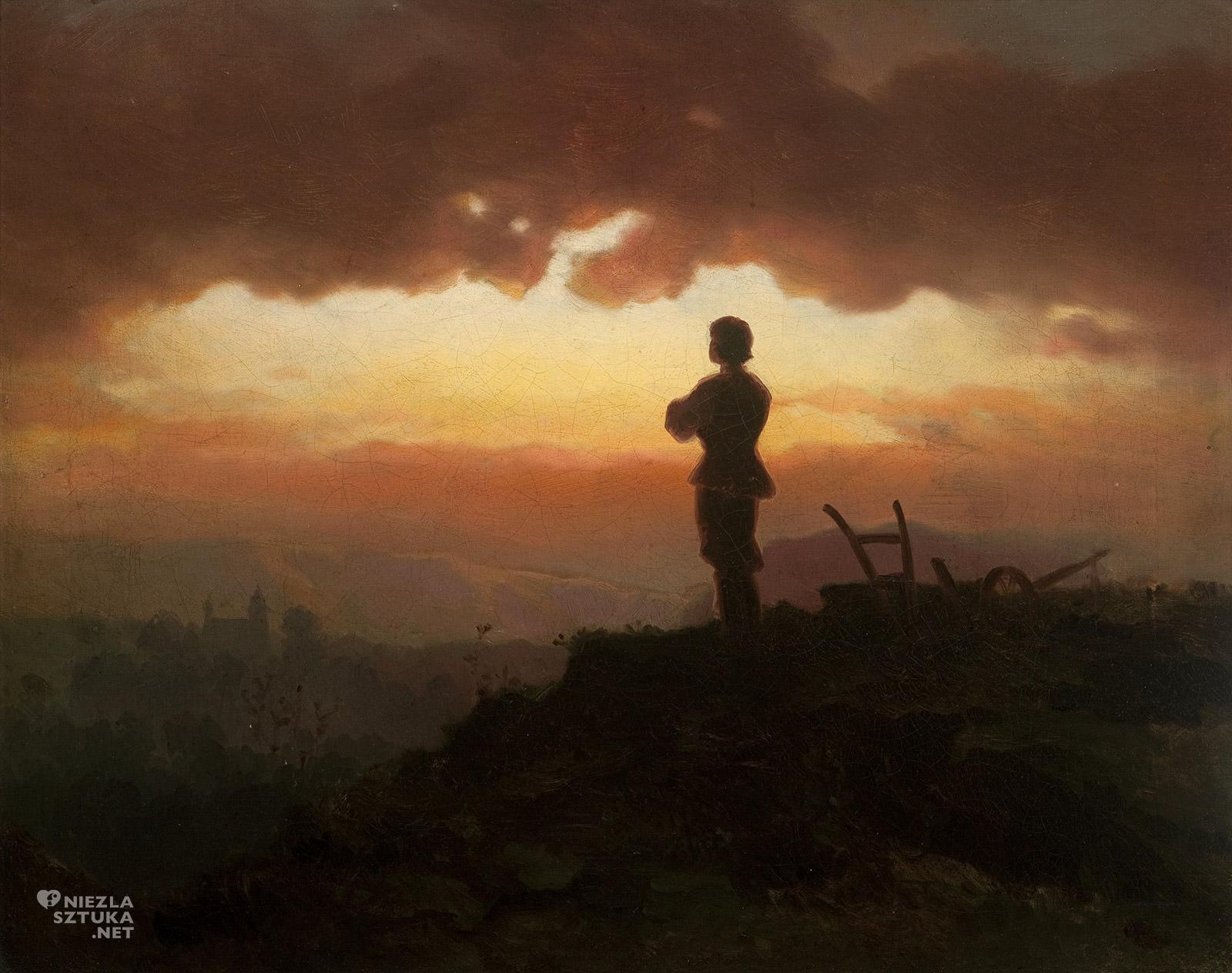 Artur Grottger, Modlitwa wieczorna rolnika, sztuka polska, XIX wiek, malarstwo polskie, Niezła Sztuka