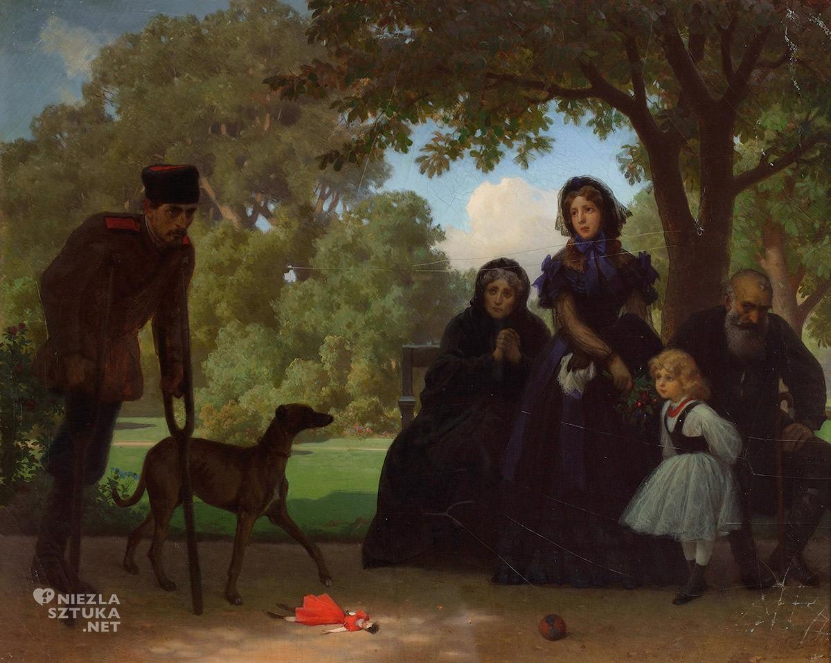 Artur Grottger, W Saskim Ogrodzie, sztuka polska, XIX wiek, malarstwo polskie, Niezła Sztuka